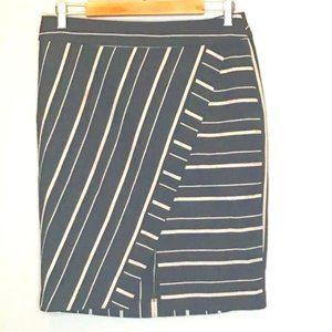 LOFT Skirt Faux Wrap Nautical Asymmetrical Size 8